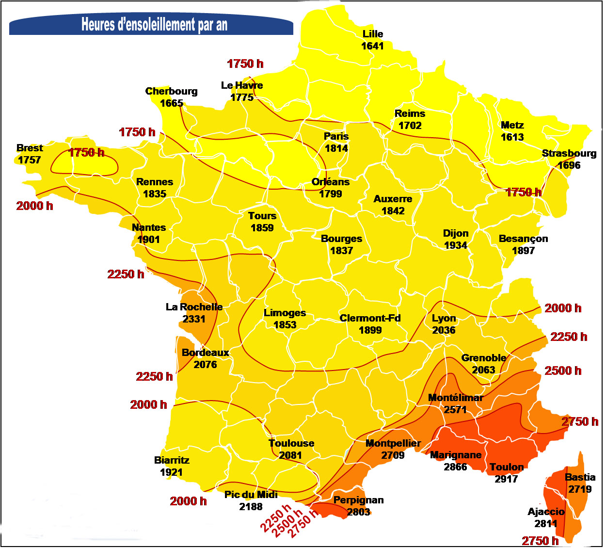 carte de france ensoleillement